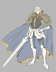 1boy armor cape cosplay edmond_dantes_(fate/grand_order) enmiria excalibur_galatine fate/extra fate/grand_order fate_(series) gawain_(fate/extra) gawain_(fate/extra)_(cosplay) looking_at_viewer male_focus short_hair simple_background solo sword wavy_hair weapon white_hair yellow_eyes