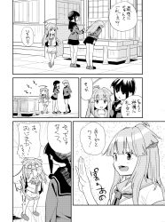 3girls ahoge architecture arms_at_sides arms_behind_back bangs blood blunt_bangs blush bowing box braid breasts clapping comic commentary_request crossed_arms donation_box east_asian_architecture fang full-face_blush greyscale hand_up hands_on_own_cheeks hands_on_own_face hikawa79 kantai_collection kitakami_(kantai_collection) kuma_(kantai_collection) large_breasts long_hair long_sleeves monochrome multiple_girls neckerchief ooi_(kantai_collection) open_mouth pleated_skirt pool_of_blood school_uniform serafuku shoes short_sleeves shorts shrine sidelocks skirt smile sweat temple translation_request when_you_see_it
