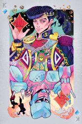 5boys anchor_symbol card coin crazy_diamond diamond earrings heart higashikata_jousuke hirose_kouichi jewelry jojo_no_kimyou_na_bouken jubopy kira_yoshikage kishibe_rohan male_focus multiple_boys nijimura_okuyasu peace_symbol playing_card pompadour purple_eyes purple_hair rotational_symmetry silhouette spikes stand_(jojo) stud_earrings zipper