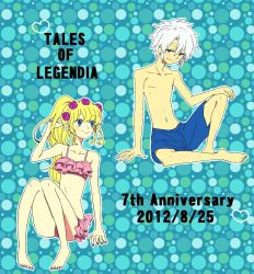 1boy 1girl bare_shoulders barefoot bikini blonde_hair blue_background blue_eyes braid breasts copyright_name flower heart long_hair midriff navel ponytail rose senel_coolidge shirley_fennes short_hair shorts smile swimsuit tales_of_(series) tales_of_legendia tattoo white_hair