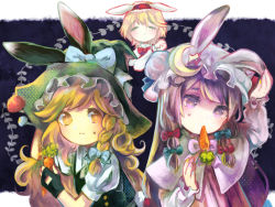 3girls alice_margatroid animal_ears animal_hat black_gloves blonde_hair bow braid bunny_ears capelet carrot crescent eyes_closed fake_animal_ears fingerless_gloves gloves hair_bow hair_ornament hairband hat hat_bow highres kirisame_marisa long_hair long_sleeves looking_at_another mob_cap mouth_hold multiple_girls mushroom patchouli_knowledge puffy_sleeves purple_eyes purple_hair sanso shirt short_hair short_sleeves side_braid single_braid skirt smile sweatdrop touhou vest witch_hat yellow_eyes