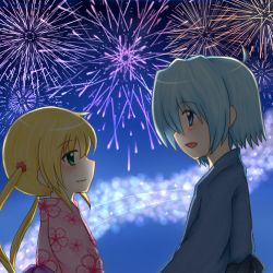 ayasaki_hayate blonde_hair blue_eyes blue_hair fireworks green_eyes hayate_no_gotoku! japanese_clothes kimono long_hair lowres sakura_ringo sanzen'in_nagi short_hair yukata