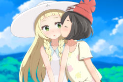 2girls beanie black_hair blonde_hair braid cheek_kiss cloud dress female_protagonist_(pokemon_sm) green_eyes hat highres kiss lillie_(pokemon) long_hair multiple_girls nekosination open_mouth pokemon pokemon_(game) pokemon_sm red_hat short_hair sky sleeveless sleeveless_dress sun_hat twin_braids white_dress white_hat yuri