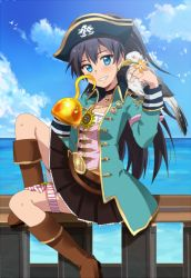 1girl animal animal_on_shoulder arm_ribbon bangs belt belt_buckle beltskirt bird bird_on_shoulder black_hair black_skirt blue_eyes blush boots breasts brown_legwear buckle choker clenched_hand cloud flower from_side ganaha_hibiki grin hand_up hat heart heart_print high_ponytail hiiringu hook_hand idolmaster jacket jewelry knee_boots knee_up lace long_hair long_sleeves looking_at_viewer miniskirt mouth_hold multiple_belts necklace ocean open_clothes open_jacket outdoors parted_bangs petticoat petting pirate pirate_hat pleated_skirt ponytail railing ribbon sitting skirt skull sky sleeve_cuffs small_breasts smile star star_print striped thigh_ribbon vertical_stripes very_long_hair water