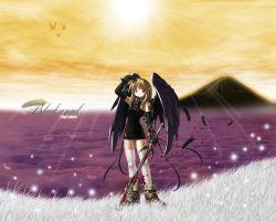 angel angel_wings black_wings blonde_hair blood nyanko_batake original sword thighhighs weapon white_legwear wings