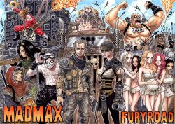 6+boys 6+girls angharad bald breasts buzz_cut capable_(mad_max) cheedo_the_fragile coma-doof_warrior dark_skin electric_guitar everyone facial_hair flamethrower full_body_tattoo goggles goggles_on_head guitar gun handgun highres immortan_joe imperator_furiosa instrument large_breasts mad_max mad_max:_fury_road max_rockatansky mechanical_arm miss_giddy multiple_boys multiple_girls nux_(mad_max) old_woman one_piece parody pistol pregnant prosthesis prosthetic_arm rictus_erectus scar shotgun slit_(mad_max) speaker stubble style_parody takumi_(marlboro) tattoo the_bullet_farmer the_dag the_doof_warrior the_organic_mechanic the_people_eater toast_the_knowing weapon