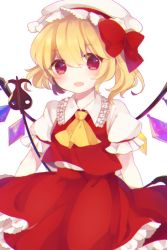 1girl :d ascot blonde_hair blouse blush bow cowboy_shot crystal eyebrows_visible_through_hair flandre_scarlet frilled_skirt frills hair_bow hat highres laevatein looking_at_viewer maccha_(hatsune) mob_cap open_mouth puffy_short_sleeves puffy_sleeves red_eyes red_skirt red_vest short_hair short_sleeves side_ponytail skirt skirt_set smile solo touhou vest white_background white_blouse white_hat wings yellow_ascot