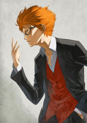 1boy 404_(artist) adam's_apple alternate_costume bangs black_jacket black_pants cowboy_shot formal glasses hand_in_pocket jacket long_sleeves open_clothes open_collar open_jacket open_mouth orange_hair pants red_vest shirt solo suit to_aru_majutsu_no_index to_aru_majutsu_no_index:_new_testament tsuchimikado_motoharu vest white_shirt