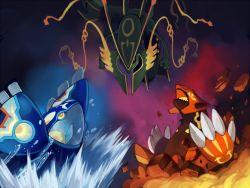groudon kyogre matatabi_nia mega_rayquaza pokemon pokemon_(game) pokemon_oras primal_groudon primal_kyogre rayquaza water