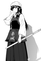 1girl akagi_(kantai_collection) alternate_costume alternate_hairstyle artist_name bougu character_name hakama hyouju_issei japanese_clothes kantai_collection kendo monochrome parted_lips shinai signature solo sweat sword towel weapon wiping_face