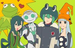 2girls 3boys alternate_costume animal_connection animal_costume asui_tsuyu black_hair blue_hair boku_no_hero_academia breasts eruka_frog fran_(reborn) frog frog_costume frog_eyes frog_girl green_eyes hat headphones heart hu_(saimens) katekyo_hitman_reborn! kermit_the_frog long_hair looking_at_viewer lucio_(overwatch) multiple_boys multiple_girls muppets overwatch short_hair soul_eater the_muppet_show tongue tongue_out trait_connection