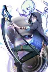 1boy arm_belt black_boots black_hair blue_hair blue_shirt boots glint gradient_hair green_pants highres hood hooded_jacket jacket jeunese leg_belt looking_at_viewer male_focus multicolored_hair pants parted_lips scythe shirt skeleton soccer_spirits solo tuuuh vortex wristband yellow_eyes