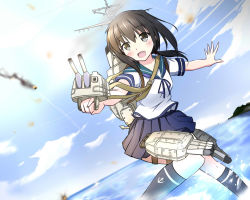 1girl blue_sky brown_eyes brown_hair cannon cloud dutch_angle explosion fubuki_(kantai_collection) kantai_collection kneehighs machinery open_mouth outstretched_arms outstretched_hand popomu school_uniform serafuku skirt sky smile solo tagme turret
