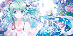 1girl floating_hair flower green_eyes green_hair hair_flower hair_ornament hatsune_miku jewelry long_hair looking_at_viewer necklace rain rednian ring smile twintails umbrella very_long_hair vocaloid