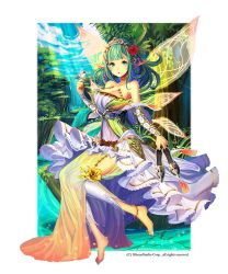 4th anklet barefoot detached_leggings dress fairy_wings flower green_hair gyakushuu_no_fantasica hair_flower hair_ornament jewelry nature official_art pointy_ears river shoes_removed soaking_feet water wings
