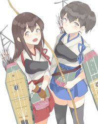 2girls :d akagi_(kantai_collection) black_hair black_legwear blue_skirt brown_eyes brown_hair flight_deck hakama_skirt hasegawa_(rarairairai) japanese_clothes kaga_(kantai_collection) kantai_collection long_hair looking_at_viewer multiple_girls muneate open_mouth pleated_skirt quiver side_ponytail simple_background single_glove skirt smile tasuki thighhighs white_background yugake