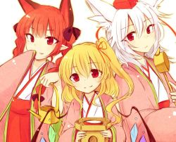 3girls alternate_costume animal_ears blonde_hair bow braid cat_ears crystal fang flandre_scarlet hair_bow hat inubashiri_momiji japanese_clothes kaenbyou_rin ladle long_hair long_sleeves looking_at_viewer multiple_girls no_hat pointy_ears ponytail red_eyes red_hair shirt short_hair side_ponytail simple_background skirt smile string tama_(soon32281) tokin_hat touhou twin_braids vest white_background white_hair wide_sleeves wings wolf_ears
