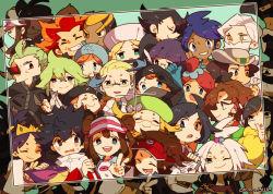 6+boys 6+girls adeku_(pokemon) akuroma_(pokemon) arty_(pokemon) bel_(pokemon) blush cattleya_(pokemon) cheren_(pokemon) chibi copyright_name dark_trinity fuuro_(pokemon) geechisu_(pokemon) giima_(pokemon) grin highres homika_(pokemon) hue_(pokemon) iris_(pokemon) kamikaze0211 kamitsure_(pokemon) kyouhei_(pokemon) looking_at_viewer mei_(pokemon) multiple_boys multiple_girls n_(pokemon) photo_(object) pokemon pokemon_(game) pokemon_bw pokemon_bw2 renbu_(pokemon) shaga_(pokemon) shikimi_(pokemon) shizui_(pokemon) smile team_plasma team_plasma_grunt touko_(pokemon) v yacon_(pokemon)