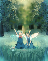 2girls arms_up blue_dress blue_hair blurry cirno daiyousei dress eyes_closed fairy_wings forest frog frozen green_hair hair_ornament hair_ribbon ice ice_wings landscape multiple_girls nature on_ground open_mouth puffy_sleeves red_(girllove) ribbon scenery short_hair short_sleeves side_ponytail sitting smile socks touhou tree wings