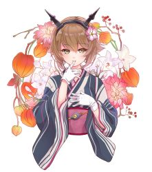 1girl akakokko alternate_costume anchor brown_hair earrings eyebrows eyebrows_visible_through_hair finger_in_mouth floral_background flower gloves green_eyes hair_between_eyes hair_flower hair_ornament hand_on_own_chest headgear japanese_clothes jewelry kantai_collection kimono long_sleeves looking_at_viewer mutsu_(kantai_collection) obi sash solo striped_kimono upper_body white_background white_gloves wide_sleeves yukata