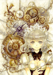 1girl arm_garter braid breasts bust chains cleavage clock corset eyebrows fingernails flower gears highres holding_hand izayoi_sakuya keiko_(mitakarawa) looking_at_viewer maid_headdress pocket_watch puffy_short_sleeves puffy_sleeves ribbon roman_numerals short_sleeves silver_hair smile solo steampunk steampunk_(liarsoft) tied_up touhou twin_braids watch yellow_eyes