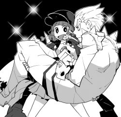 1boy 1girl carrying dowman_sayman flower frown gamagoori_ira greyscale hands_in_pockets hat jacket jacket_on_shoulders kill_la_kill mankanshoku_mako monochrome open_mouth princess_carry school_uniform short_hair size_difference skirt smile spikes