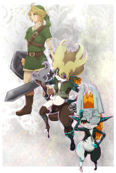 blonde_hair blue_eyes grey_skin link midna one_eye_covered orange_hair red_eyes the_legend_of_zelda transformation twilight_princess yellow_sclera