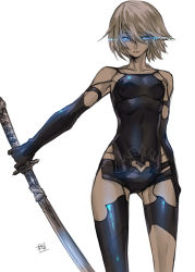 1girl android armlet blue_eyes breasts collarbone elbow_gloves eyelashes gloves glowing glowing_eyes highres holding holding_sword holding_weapon katana mole mole_under_mouth nier_(series) nier_automata patterned_clothing short_hair short_shorts shorts solo standing sword tank_top text thighs tombsakura weapon white_background white_hair yorha_type_a_no._2