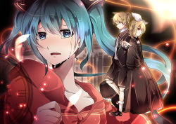 1boy 2girls aqua_eyes aqua_hair bad_end_night_(vocaloid) black_clothes black_dress black_jacket black_shoes blonde_hair bow capelet clock crying crying_with_eyes_open doll_joints dress feathers hair_bow hair_ribbon hatsune_miku jacket kagamine_len kagamine_rin lens_flare light_particles light_rays long_dress long_hair multiple_girls outstretched_hand red_eyes ribbon shirt shoes short_hair short_ponytail socks sparkle tears twintails very_long_hair vocaloid yuken yuken_52