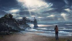 1boy 1girl beach clouds dekus female painting photographer scenery sea shore