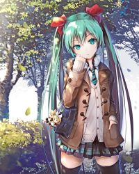 1girl ajigo aqua_eyes aqua_hair bag bag_charm black_legwear blurry bow buttons cardigan character_doll coat cowboy_shot depth_of_field hair_bow hand_in_pocket hatsune_miku head_tilt headphones headphones_around_neck highres kagamine_len kagamine_rin leaf long_hair long_sleeves looking_at_viewer necktie outdoors pavement plaid plaid_skirt pleated_skirt pocket school_bag shoulder_bag skirt solo thighhighs tree tsurime twintails very_long_hair vocaloid zettai_ryouiki