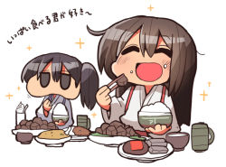 2girls ^_^ akagi_(kantai_collection) bauxite black_hair brown_hair chopsticks eating eyes_closed food food_on_face jitome kaga_(kantai_collection) kakuzatou_(koruneriusu) kantai_collection long_hair multiple_girls open_mouth puffy_cheeks rice rice_bowl rice_on_face side_ponytail simple_background sparkle translation_request white_background