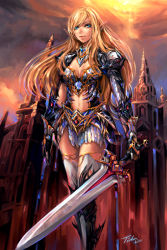 1girl armor blonde_hair blue_eyes bracer breasts bunny_shake center_opening elf lineage lineage_2 long_hair pointy_ears skirt smile solo thighhighs