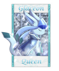 argyle character_name clothed_pokemon eyes_closed glaceon ivan_(ffxazq) no_humans pokemon solo