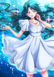 1girl absurdres aqua_hair blue_dress blue_eyes braid bubble collarbone commentary cowboy_shot dress earrings go!_princess_precure highres jewelry kaidou_minami lens_flare long_hair necklace open_mouth precure see-through sharumon short_sleeves smile solo sparkle underwater very_long_hair