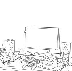 arsenixc bottle chips computer_keyboard computer_mouse controller cup game_controller highres lineart monitor monochrome no_humans original pencil plate speaker stylus table tablet template wacom water_bottle webcam white_background