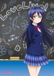 1girl bare_legs blazer blue_hair chalkboard character_name copyright_name long_hair looking_at_viewer love_live!_school_idol_project love_live!_the_school_idol_movie necktie official_art plaid plaid_skirt pleated_skirt school_uniform skirt smile solo sonoda_umi yellow_eyes