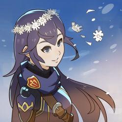 1girl armor blue_eyes blue_hair cape female fire_emblem fire_emblem:_kakusei gradient_background highres long_hair lucina outdoors sky smile solo splashbrush tiara