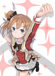 1girl absurdres blue_eyes bow brown_hair clenched_hands frilled_skirt frills highres kousaka_honoka long_sleeves looking_at_viewer love_live!_school_idol_project one_leg_raised outstretched_arms raised_fist ranf side_ponytail skirt smile solo sore_wa_bokutachi_no_kiseki