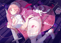 1girl bandage belt blood boots breasts cardiogram character_request cleavage commentary_request domotolain elbow_gloves fingerless_gloves garter_straps gloves hat heart heart_monitor huge_breasts intravenous_drip lace lace-trimmed_thighhighs miracle_nikki nail_polish neck_ribbon nurse nurse_cap one_eye_closed oversized_object pink_eyes pink_hair red_nails ribbon see-through short_hair single_elbow_glove skirt solo stitches stuffed_animal stuffed_bunny stuffed_toy syringe thighhighs transparent_skirt