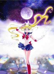 1girl anime_coloring artist_name bangs bishoujo_senshi_sailor_moon bishoujo_senshi_sailor_moon_crystal blonde_hair blue_eyes blue_skirt boots bow brooch choker crescent_moon derivative_work double_bun earrings elbow_gloves facial_mark floating_hair forehead_mark gloves hair_ornament hairclip jewelry knee_boots marco_albiero moon moon_stick official_style parted_bangs pleated_skirt red_boots red_bow sailor_collar signature skirt solo tsukino_usagi white_gloves wind