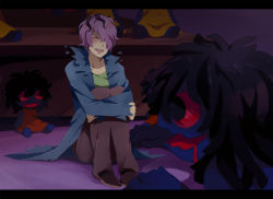 1boy black_eyes black_hair blood blood_on_face blush coat creepy desk doll eyes_closed garry_(ib) hair_over_one_eye ib impossible_clothes leg_hug messy_hair one_eye_covered open_mouth red_pupils shadow shoes sitting smile solo spoilers suikka teeth