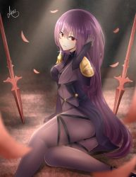1girl armor ass bangs bodysuit breasts covered_navel dual_wielding fate/grand_order fate_(series) gae_bolg gloves hair_between_eyes highres holding long_hair looking_at_viewer pauldrons petals polearm purple_bodysuit purple_hair red_eyes scathach_(fate/grand_order) serious shoulder_armor smile solo spear weapon