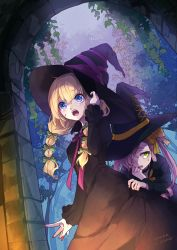 2girls 778-go blonde_hair blue_eyes bow dutch_angle fingernails green_eyes hair_bow hair_over_one_eye hand_on_headwear hat highres long_hair low_twintails multiple_girls nail_polish number open_mouth original pink_hair ribbon sweatdrop tree twintails witch witch_hat