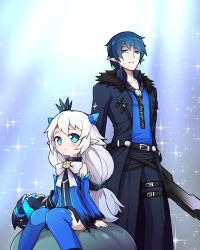 +_+ 1boy 1girl belt blue blue_background blue_eyes blue_hair blue_legwear blue_skirt bow brooch choker ciel_(elsword) claws coat crown detached_sleeves elsword expressionless jewelry long_hair low-tied_long_hair lu_(elsword) luciela_r._sourcream mini_crown nishino_(waero) pants ribbon shirt single_glove sitting skirt sparkle standing sword symbol-shaped_pupils thighhighs weapon white_hair