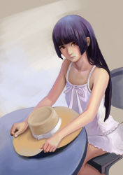 1girl absurdres bare_shoulders black_hair brown_background brown_eyes chair collarbone dress expressionless gokou_ruri goldengear870 hand_on_headwear hat hat_removed headwear_removed highres hime_cut lips long_hair looking_at_viewer nose ore_no_imouto_ga_konna_ni_kawaii_wake_ga_nai realistic sitting sleeveless small_breasts solo straw_hat sundress table upper_body white_dress