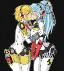 2girls aegis_(persona) blonde_hair blue_hair blush eyes_closed incest kiss labrys multiple_girls persona persona_3 ponytail robot robot_girl short_hair sisters technician67 yuri