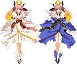 2girls absurdres alternate_color animal_ears bare_shoulders bow breasts caster_(fate/extra) cleavage date_a_live detached_sleeves fate/extra fate_(series) fox_ears fox_tail hair_bow hair_ribbon highres itsuka_kotori itsuka_kotori_(cosplay) japanese_clothes long_hair multiple_girls pink_hair ribbon simple_background tail twintails vector_trace white_background yellow_eyes