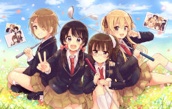 4girls :3 :d ^_^ absurdres between_legs black_eyes black_hair black_ribbon black_shoes blonde_hair blush bow brown_hair brown_skirt character_request closed_mouth collared_shirt commentary_request copyright_request day eyebrows_visible_through_hair eyes_closed eyes_visible_through_hair fang glasses golf_club grass hair_between_eyes hair_bow hair_ornament hair_over_one_eye hair_ribbon hairclip hand_between_legs hand_on_another's_shoulder highres holding_golf_club indian_style kneehighs long_hair long_sleeves looking_at_viewer low_twintails mary_janes multiple_girls niikura_kaori on_ground open_mouth outdoors petals photo_(object) pink_bow pleated_skirt pointing pointing_at_self ribbon rimless_glasses salute school_uniform seiza shirt shoes short_hair side_ponytail sitting skirt smile twintails two_side_up v white_legwear white_shirt wing_collar