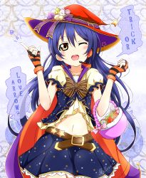 1girl basket belt blue_hair bow candy english fingerless_gloves gloves halloween halloween_costume hat hat_bow headset karamoneeze lollipop long_hair love_live!_school_idol_project midriff navel one_eye_closed open_mouth puffy_short_sleeves puffy_sleeves shirt short_sleeves skirt smile solo sonoda_umi striped striped_gloves trick_or_treat very_long_hair witch_hat yellow_eyes